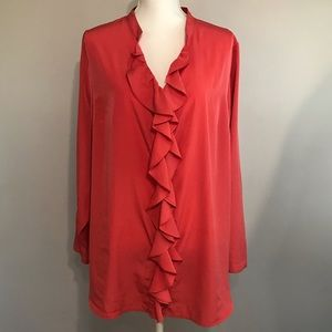 Lane Bryant Women's Coral Ruffled Front Blouse